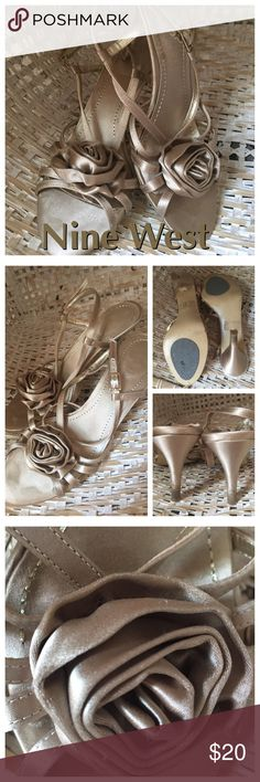 """NINE WEST Satin Slingback Sandals Pretty champagne satin sandals. Satin rosette top. Adjustable side closure straps. Anti-slip sole pads. Light grass stains on heels (can be professionally cleaned). Light wear on soles and insoles. 2.5"""" heels. Nine West Shoes Sandals"""