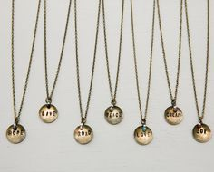 Antique Brass Inspiration Word Charm Necklace ~ Perfect gift for Valentines day for mother, daughter, girlfriend, best friend, roommate, sister.  $16