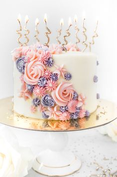 A Gorgeously Whimsical Buttercream Piped Birthday Cake Recipes Flower Cakes