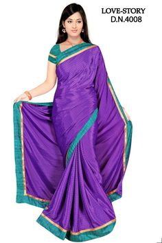 Sakshi Love Story Collection Blue-Violet Color Georgette Saree (Offer Price: Rs 1300 , Offered Discount: 28%) ** BUY NOW ** [MRP: Rs 1800]