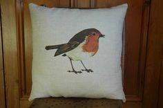 Robin Cushions at Velvet Thistle Country Cushions, Christmas Bird, Cushion Filling, Cushion Pads, Wild Birds, Soft Furnishings, Linen Fabric, Robin, Wildlife