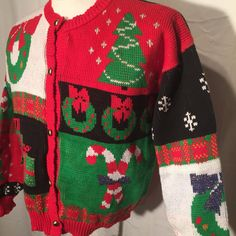 Vintage 80s Eighties Cotton UGLY CHRISTMAS SWEATER L Large Wreaths Trees Candy Canes by UglySweaters4U on Etsy