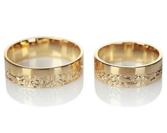 14k oro su y suyo vendas de boda. Vendas de boda de oro. Bandas de boda juego. Anillos de boda. Anillos de pareja. Set de anillos de boda.