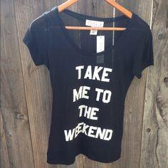"Spotted while shopping on Poshmark: ""Take Me To The Weekend Black Tee""! #poshmark #fashion #shopping #style #Tops"