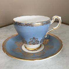 Paragon Blue Gold Teacup Tea Cup Saucer England Vintage Bone China England