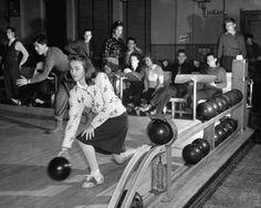 Bowling Night, 1940    Debutantes bowling with their dates