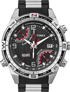 6ce4591592b0 Timex T49868AU - Reloj analógico de caballero de cuarzo con correa de acero  inoxidable negra Timex