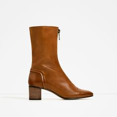 ZARA - WOMAN - HIGH HEEL LEATHER ANKLE BOOTS WITH ZIP