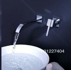 Wall Mounted Single Handle Widespread Waterfall Bathroom Sink Tap Basin Faucet $57.00