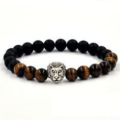 Koky Fashion Tiger Eye Beaded Bracelet with Silver Lion Spacer #Handmade #Beaded