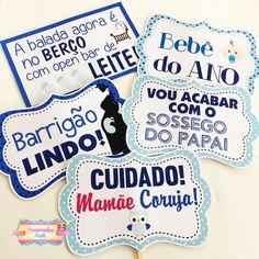 Plaquinhas Chá de Bebê [Kit 10 unidades médias] Baby Shark, Barbie, Baby Boy Shower, Pop Art, Party, Diy, Lucca, Tattoos, Baby Shower Signs