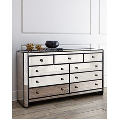 Horchow Powell Mirrored Chest ($2,299) ❤ liked on Polyvore featuring home, furniture, storage & shelves, dressers, mirrored glass furniture, mirrored furniture, eglomise furniture, mirrored glass dresser and colored dressers
