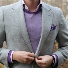 Add a purple or lavender piece with your look. It can be subtle like shoe laces or as bold as a blazer.