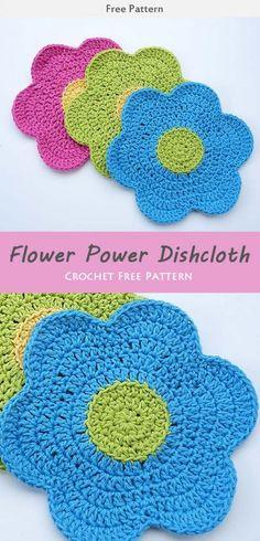 Flower Power Dishcloth Crochet Free Pattern