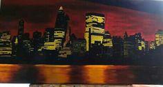 Anocheciendo en Nueva York. Oleo sobre lienzo .Autora :Antonia Márquez