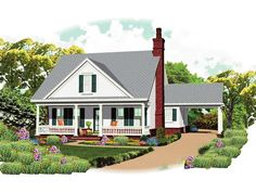 Grayson Place Country Home  Bungalow House Plan Front of Home - 087D-1672   House Plans and More from houseplansandmore.com