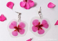 Journey into Creativity: Laminated real flower earrings