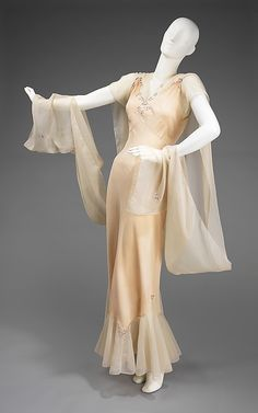 "1946-1948 silk nightgown ""Busting Out All Over"" by Tewi Lingerie, Inc., American. One of two pieces donated by the designer, Thea Tewi, to the Brooklyn Museum, via MMA."