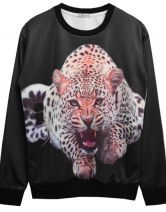 Black Leopard Print Round Neck Sweatshirt US$25.50