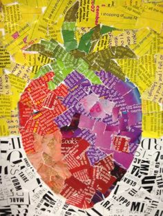 5th graders picked a fruit and collaged the colors from ripped magazine pages, using texted color was encouraged.