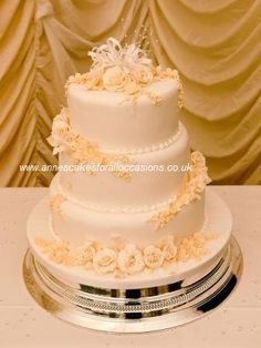 3 Tier Sponge Wedding Cake With Fondant Sugar Formed Flowers
