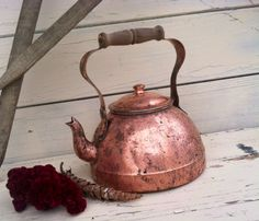 Antique Solid Copper Tea Kettle With Wooden by happydayantiques