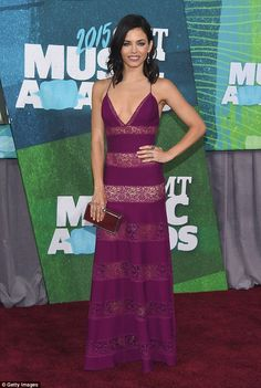 Purple perfection: Jenna Dewan-Tatum, 34, wore a see-through cut out purple dress on Wednesday while attending the CMT Music Awards