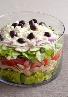 Layered Greek Salad for a Crowd – This layered Greek salad is ideal for a potluck or backyard barbecue, where everyone can get a piece of the creamy, cheesy, spinachy, olive-studded action.