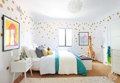 ARISTA - PHOEBE ROOM  Cool Kids Only - The gold dots add just the right amount of sparkle without being overwhelming. An excellent DIY idea for a room that needs a little oomph! - @Homepolish Los Angeles