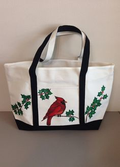 Large Tote Bag with Hand Painted Cardinal and Holly Leaves on Etsy fb0a3ccf9aa13