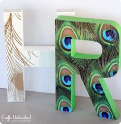 """Patterned Monogram Letters-i love that i found this pic of a peacock feather """"R"""", makes me want to do something similar."""