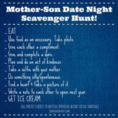 Valentine Date Night Scavenger Hunt Mother-Son Valentine Date Night Scavenger Hunt! via On The SpotMother-Son Valentine Date Night Scavenger Hunt! via On The Spot Mommy And Son, Mom Son, Parenting Advice, Kids And Parenting, Kid Dates, Father Daughter Dance, Mother Daughters, Raising Boys, Family Night