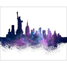 New York Watercolor Painting Art Print 8 x 10 New York City Skyline... (34 CAD) ❤ liked on Polyvore featuring home, home decor, wall art, ny wall art, water colour painting, new york wall art, watercolour painting and silhouette paintings