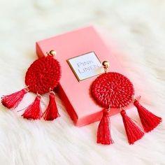 Pink Linen Jewelry | Pink Linen Statement Rattan And Tassel Earrings | Poshmark Tassel Earrings, Red Gold, Rattan, Tassels, Pink Ladies, Polka Dots, Women Jewelry, Place Card Holders, Outfit