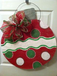 Burlap Christmas Ornament by HeatherHCates on Etsy, $35.00