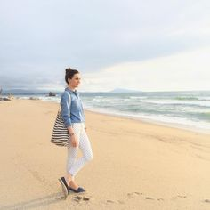{ Sunset in Biarritz ⚓️ Pantalon #Zara | Chemise #OldNavy Tote bag #Jcrew | Espadrilles @havaianaseurope  #BigHavaianas #BigFestival Pic by @sp4nkblog }