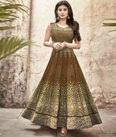 Buy Mouni Roy Brown Faux Georgette Anarkali Suit 76039 online at lowest price…