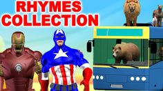 Ironman Captain America Cartoons with Animals for Children Nursery Rhyme...