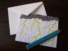 Tribal lightning storm note card, original pen and ink, blank card by BlackFoxMT on Etsy