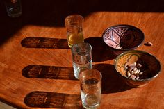 Marocco. Drinking glasses and shadows.