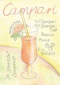 Campari, Cocktail, Illustration, Zeichnung, Print