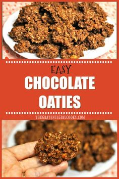 "You're gonna love Chocolate Oaties, delicious and EASY 10 minute ""no-bake"" drop cookies with chocolate, peanut butter, nuts and oats! / The Grateful Girl Cooks! No Bake Desserts, Just Desserts, Delicious Desserts, Dessert Recipes, Drop Cookies No Bake, Yummy Cookies, Chocolate Oatmeal Cookies, Oatmeal Cookie Recipes, Healthy Treats"