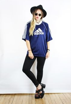 Vintage+90s+Retro+Navy+Blue+White+Adidas+T-Shirt
