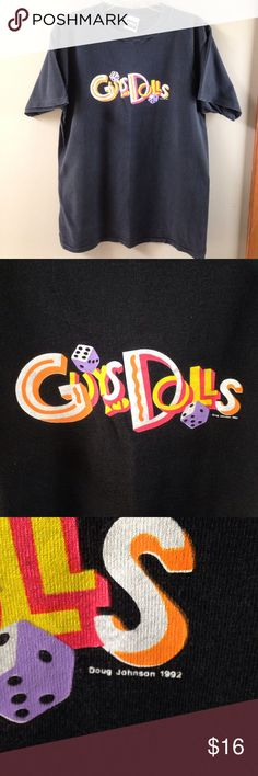 VTG Guys and Dolls Broadway Graphic Tee This retro shirt is from the Broadway musical revival production in 1992. Great for any musical fans or great as a gift if you are doing a high school musical production of this show or at your local theatre! The black is a bit faded from wash and wear but still has life left in this vintage tee! vintage Tops Tees - Short Sleeve
