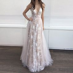 A-Line Deep V-neck Floor-length Backless Prom Dress with Lace
