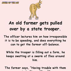 An old farmer gets pulled over by a state trooper. The officer lectures him on how irresponsible it is to be speeding, and does everything he can to get the farmer off-balance. While the trooper is filling out a form, he keeps swatting at a. Police Jokes, Funny Long Jokes, Hilarious Dirty Jokes, Short Clean Jokes, Funny Memes, Pregnancy Jokes, Joke Of The Day, Twisted Humor, Funny Stories