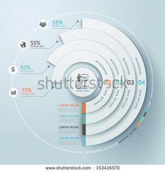 """""""Ilustração em Vetor Infográficos de Negócios em estilo origami circular. pode ser usado para o layout de fluxo de trabalho, banner, diagrama, opções numeradas, opções em degraus ascendentes, web design."""""""