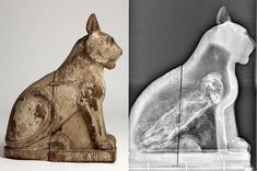 """egypt-museum: """" Mummified cats in ancient Egypt Painted wooden cat coffin carved in two parts, sealed together to resemble a seated cat. Radiograph showing a complete cat mummy inside. Cats In Ancient Egypt, Ancient Egypt History, Ancient Egyptian Art, History Images, Art History, Egypt Museum, Egyptian Mummies, Wooden Cat, Bizarre"""