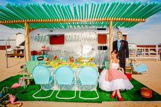 Airstream wedding shoot in Joshua Tree trailer park http://beautifuldayphotography.com/2013/04/hypercolor-retro-glam-photo-shoot-at-the-hicksville-trailer-palace/