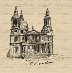 London Church View Traveling Graphics Digital by GraphicMaster, $1.00
